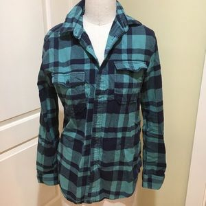 Blue turquoise flannel